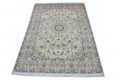 Gęsto ręcznie tkany dywan Nain 9la Habibian z Iranu wełna + jedwab 200x300cm beżowy