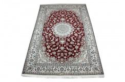 Gęsto ręcznie tkany dywan Nain 9la Habibian z Iranu wełna + jedwab 200x300cm czerwony