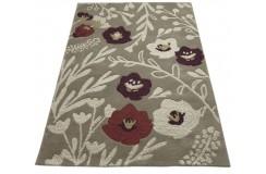 Kolorowy designerski dywan w kwiaty 100% wełniany 120x180cm Indie 2cm gruby