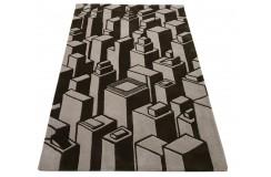 Brązowy designerski dywan wzór 3D 100% wełniany 120x180cm Indie 2cm gruby