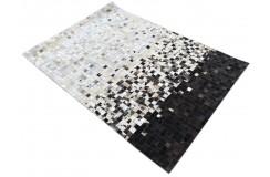 Naturalna skóra bydlęca dywan patchwork ok 140x200cm w kwadraty