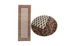 Wełniany ręcznie tkany chodnik Mir z Indii 80x300cm orientalny beżowy brązowy