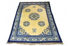 Wielki dywan Aubusson Peking China Antik Finish ręcznie tkany z Chin 213x305cm 100% wełna oryginalny kwiatowy niebiesko żółty