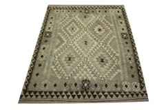 Szary dywan kilim rustykalny 150x200cm Chobi 100% wełna vintage design nomadyczny Afganistan