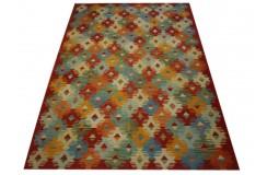 Kaudani rustykalny dywan kilim z Afganistanu 100% wełna VINTAGE 2x3m piękne połączenie kolorów