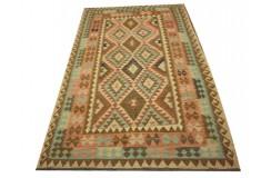 Kaudani rustykalny dywan kilim z Afganistanu 100% wełna VINTAGE 150x265cm piękne połączenie kolorów