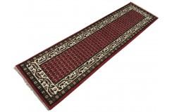 Wełniany ręcznie tkany dywan Mir z Indii 75x270cm orientalny czerwony