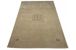 Gładki 100% wełniany dywan Gabbeh Handloom beżowy 170x240cm etniczne wzory