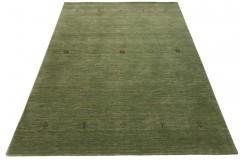Gładki 100% wełniany dywan Gabbeh Lori Handloom zielony 170x240cm etniczne rustykalne wzory