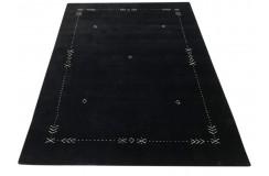 Gładki 100% wełniany dywan Gabbeh Lori Handloom czarny 170x240cm etniczne wzory