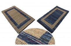 Dwustronny płasko tkany dywan kilim brązowo niebieski dywan Hindi 70x140cm