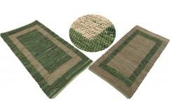 Dwustronny płasko tkany dywan kilim brązowo zielony dywan Hindi 90x160cm