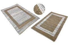 Dwustronny płasko tkany dywan kilim brązowo beżowy dywan Hindi 170x240cm