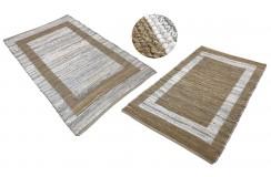 Dwustronny płasko tkany dywan kilim brązowo beżowy dywan Hindi 90x160cm