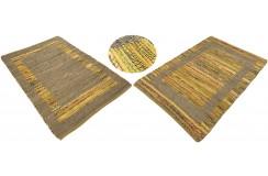 Dwustronny płasko tkany dywan kilim żółty dywan Hindi 90x160cm