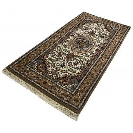 Wełniany ręcznie tkany dywan Bidjar Herati z Indii 90x160cm orientalny beżowy