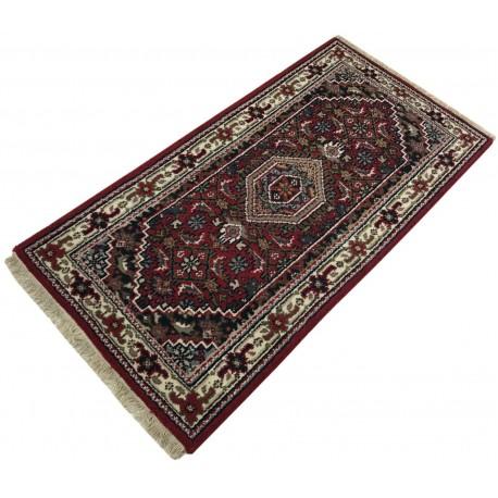 Wełniany ręcznie tkany dywan Bidjar Herati z Indii 90x160cm orientalny czerwony