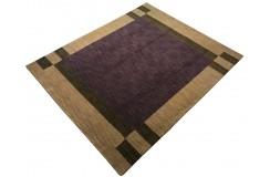 Fioletowy delikatnie zdobiony dywan gabbeh 200x250cm wełna argentyńska piękny wzór