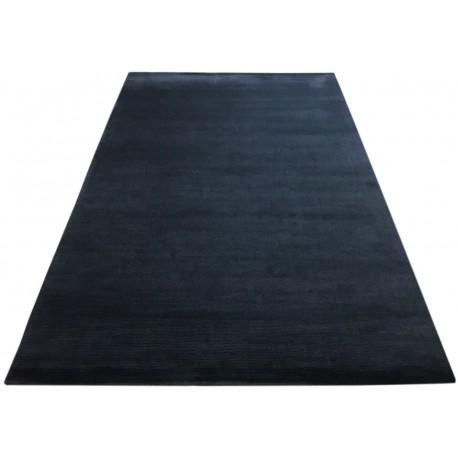Gładki 100% wełniany dywan Gabbeh Handloom czarny 200x300cm bez wzorów