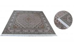 Ręcznie tkany dywan Tebriz Mahi 100% wełna 200x200m Indie piękny perski wzór klasyczny kwadratowy