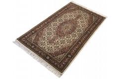 Ręcznie tkany dywan Tebriz Mahi 100% wełna 90x160cm Indie piękny perski wzór klasyczny beżowy