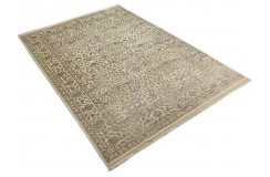 Beżowy subtelny dwupoziomowy dywan Tabriz z Indii 200x300cm wełna i jedwab wysoka jakość