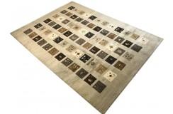 Salonowy dywan gabbeh 250x350cm wełna argentyńska szary patchwork