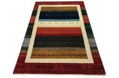 Ekskluzywny dywan Gabbeh Loribaft w pasy Indie 140x200cm 100% wełniany czerwony, kolorowy