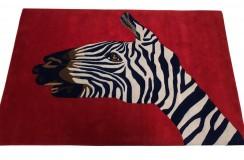 Designerski nowoczesny dywan wełniany ZEBRA 120x180cm Indie 2cm gruby czerwony