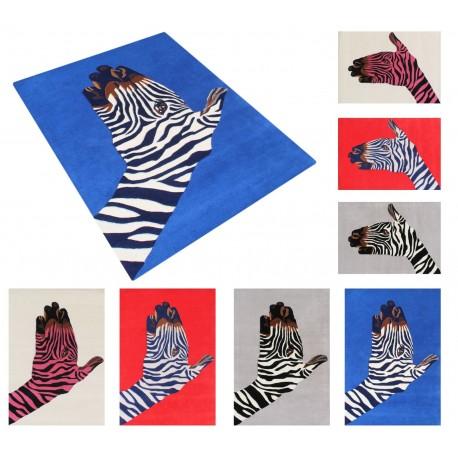 Designerski nowoczesny dywan wełniany ZEBRA 120x180cm Indie 2cm gruby niebieski
