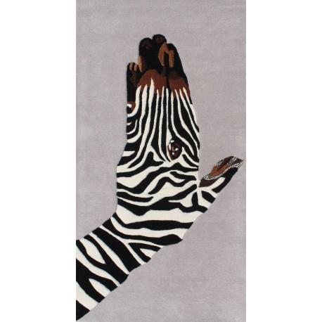Designerski nowoczesny dywan wełniany ZEBRA 120x180cm Indie 2cm gruby szary