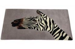 Designerski nowoczesny dywan wełniany ZEBRA 90x160cm Indie 2cm gruby szary