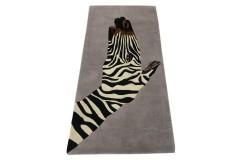 Designerski nowoczesny dywan wełniany ZEBRA 170x240cm Indie 2cm gruby szary