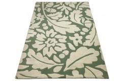 Designerski nowoczesny dywan wełniany FLOWERS 120x180cm Indie 2cm gruby zielony