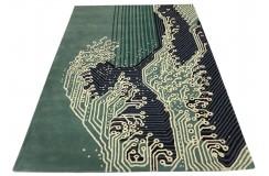 Zielony designerski nowoczesny dywan wełniany 90x160cm Indie 2cm gruby