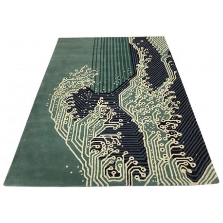 Zielony designerski nowoczesny dywan wełniany 120x180cm Indie 2cm gruby