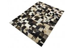 Naturalna skóra bydlęca dywan patchwork ok 140x200cm w duże kwadraty
