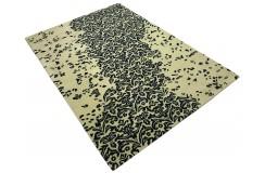 Czarno beżowy designerski nowoczesny dywan wełniany 200x300cm Indie 2cm gruby