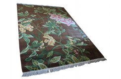 Piękny dywan Aubusson Habei ręcznie tkany z Chin 200x300cm 100% wełna rzeźbione kwiaty brązowy