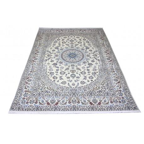 Nain 9la Habibian gęsto ręcznie tkany dywan z Iranu wełna + jedwab ok 250x350cm jasny beż