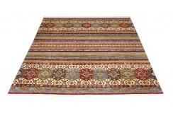 Dywan Ziegler Arijana Shaal 100% wełna kamienowana ręcznie tkany luksusowy 250x300 kolorowy w pasy