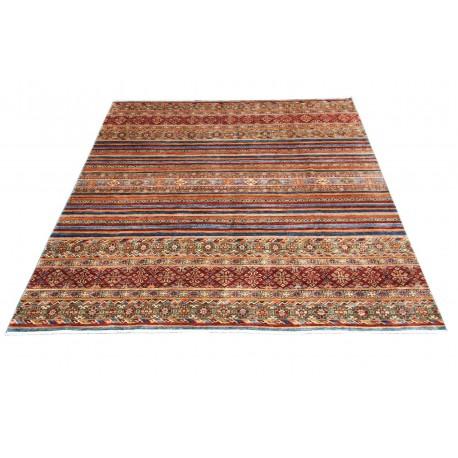 Dywan Ziegler Arijana Shaal 100% wełna kamienowana ręcznie tkany luksusowy 253x296 kolorowy w pasy
