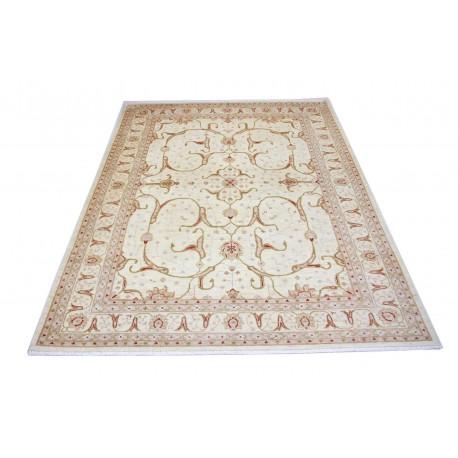 Dywan Ziegler Farahan Isfahan 100% wełna kamienowana ręcznie tkany luksusowy 250x350cm klasyczny beżowy