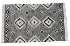 Szary kilim Art Deco durry 100% wełniany dywan płasko tkany 140x200cm dwustronny Indie dwupoziomowy