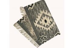 Szary kilim Art Deco durry 100% wełniany dywan płasko tkany 145x230cm dwustronny Indie dwupoziomowy