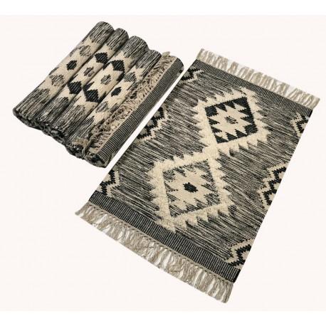 Szary kilim Durry 100% wełniany dywan płasko tkany 150x240cm dwustronny Indie dwupoziomowy