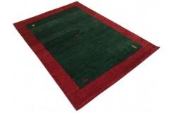 Zielony delikatnie zdobiony dywan gabbeh 140x200cm wełna argentyńska klasyczny