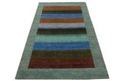 Zielony brązowy delikatnie zdobiony dywan gabbeh 140x200cm wełna argentyńska klasyczny