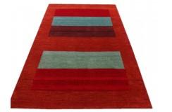 Czerwony kolorowy delikatnie zdobiony dywan gabbeh 140x200cm wełna argentyńska w pasy