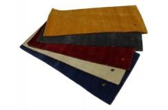 Gładki 100% wełniany dywan Gabbeh Handloom żółty/pomarańczowy 70x140cm bez wzorów
